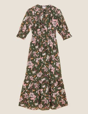 Chiffon Floral Midaxi Waisted Dress