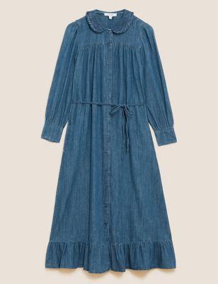 Denim Collared Midaxi Shirt Dress