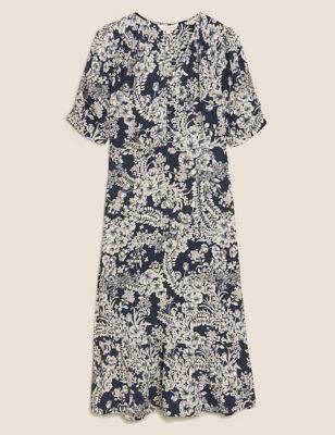 Floral V-Neck Midaxi Waisted Dress