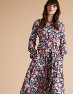 Floral Tie Front Midaxi Relaxed Dress