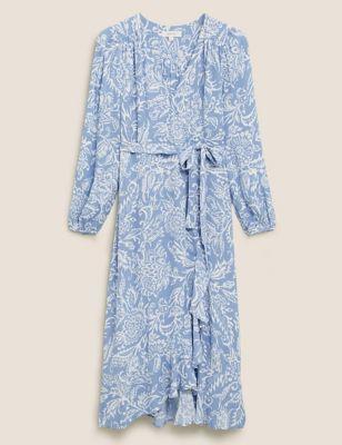 Floral Blouson Sleeve Midaxi Wrap Dress
