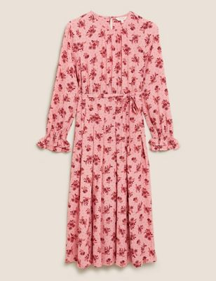 Floral Tie Front Midi Relaxed Dress