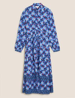 Floral Collared Neck Midaxi Shirt Dress