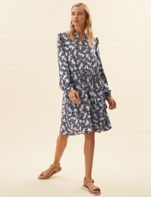 Jersey Floral Mini Waisted Dress