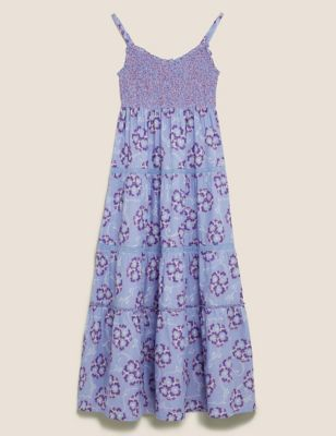 Pure Cotton Floral Midaxi Tiered Dress