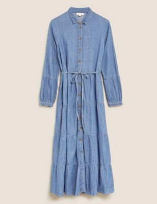 Denim Belted Midaxi Tiered Shirt Dress