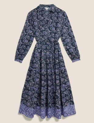 Pure Cotton Floral Midaxi Shirt Dress