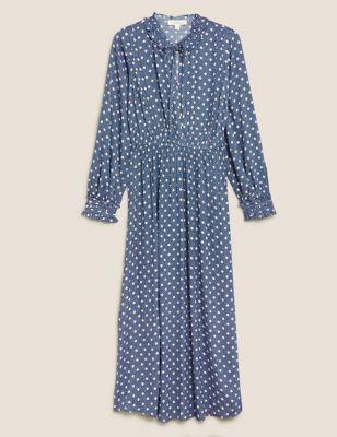 Spot Print Tie Neck Midaxi Waisted Dress