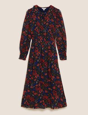 Floral Metallic Detail Midaxi Waisted Dress