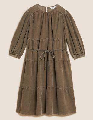 Pure Cotton Corduroy Midi Tiered Dress