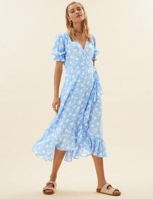Ditsy Floral V-Neck Midi Wrap Dress