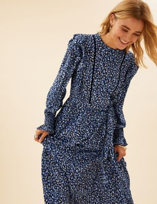 Ditsy Floral Ruffle Midaxi Waisted Dress