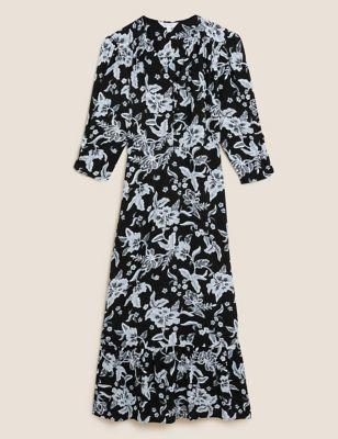 Floral V-Neck Midi Waisted Dress
