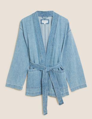 Denim Belted Longline Kimono