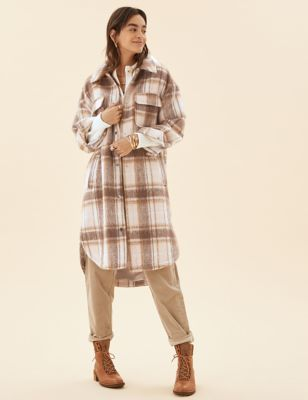 Checked Relaxed Longline Shacket with Wool