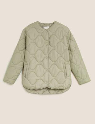 Padded Collarless Puffer Jacket