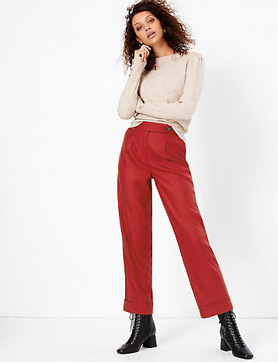 Herringbone Straight Ankle Grazer Trousers