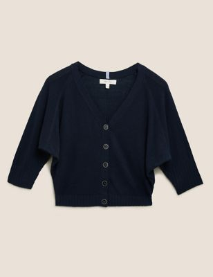 V-Neck Cropped Cardigan with Linen