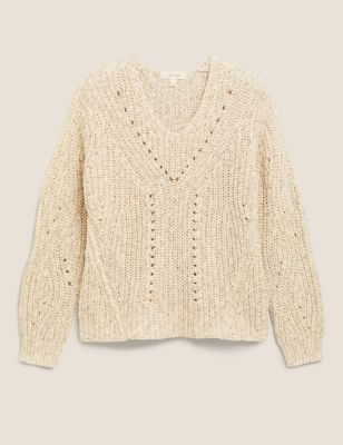 V-Neck Blouson Sleeve Jumper with Wool