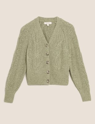Cotton Textured V-Neck Cropped Cardigan
