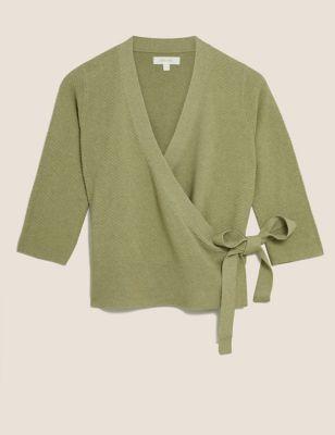 Cotton Textured V-Neck Cardigan