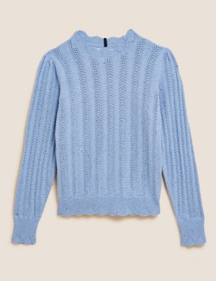 Cotton Crew Neck Pointelle Fitted Jumper