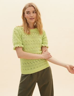 Cotton Pointelle Puff Sleeve Fitted Jumper
