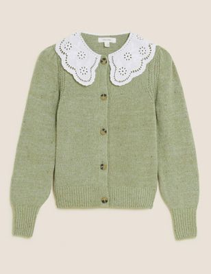 Cotton Textured Broderie Collared Cardigan