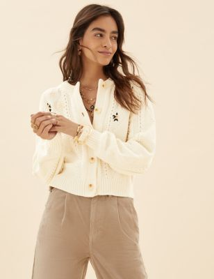 Cotton Cable Knit Embroidered Cardigan