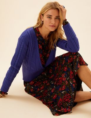 Cable Knit V-Neck Wrap Cardigan with Wool