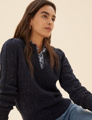Cotton Cable Knit V-Neck Jumper with Wool