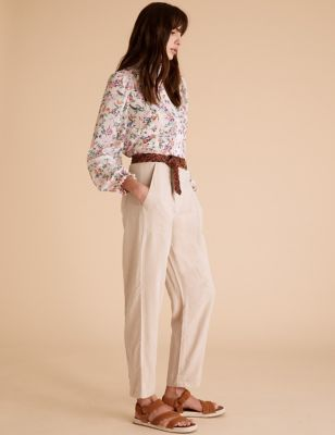 Tencel™ Cargo Straight Ankle Grazer Trousers