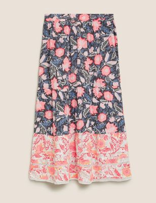 Floral Tiered Midaxi A-Line Skirt