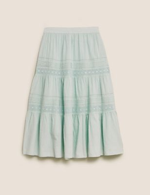 Pure Cotton Lace Detail Midaxi Tiered Skirt