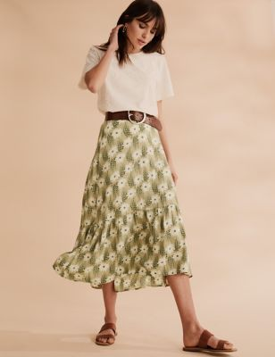 Floral Tiered Midi Skater Skirt