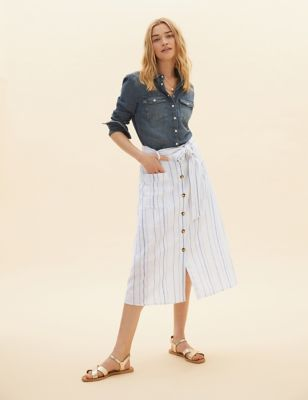 Linen Striped Midi A-Line Skirt