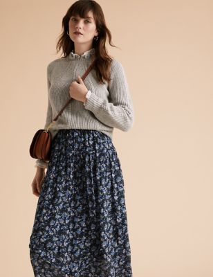 Floral Tiered Midi Skirt