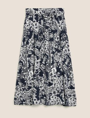 Jersey Floral Belted Midi A-Line Skirt
