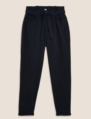 Pure Cotton Belted Tapered Trousers