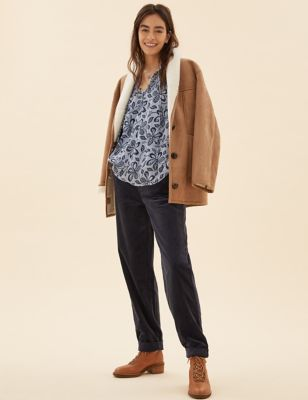 Corduroy Tapered Ankle Grazer Trousers