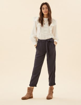 Pure Cotton Tapered Ankle Grazer Trousers
