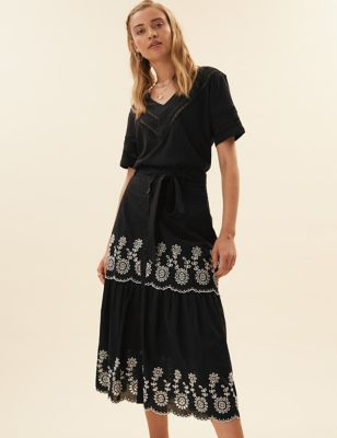 Pure Cotton Embroidered Midi A-Line Skirt