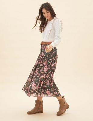 Floral Lace Detail Midaxi A-Line Skirt