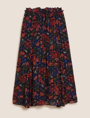 Floral Metallic Maxi A-Line Skirt
