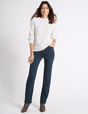 Sateen Roma Rise Straight Leg Jeans, DARK PETROL, catlanding