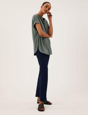 High Waisted Embellished Straight Leg Jeans