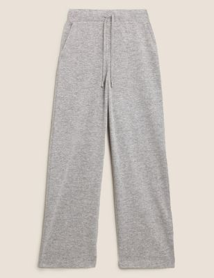 Jersey Textured Wide Leg Joggers