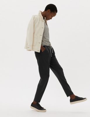 Jersey Belted Tapered Trousers