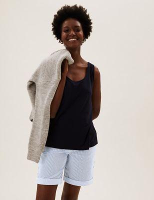 Cotton Rich Striped Long Chino Shorts