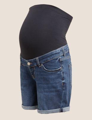 Maternity Denim Boyfriend Over Bump Shorts
